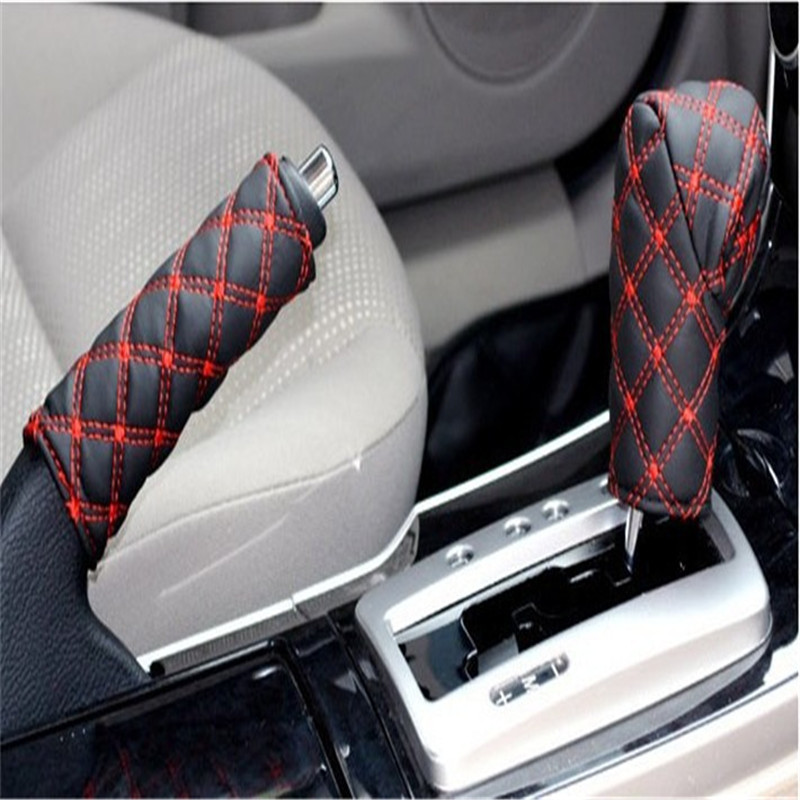 1 Set /2PCS Hand Brake Gears Sets Car Set Interior Fittings Accessories Black Red and Balck white