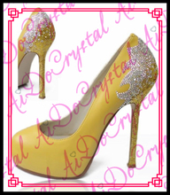 Aidocrystal sexy pumps party shoes for women 14cm extreme high heels shoes paillette platform heels pumps Yellow heels