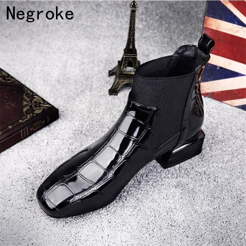 2018 Chic Women Boots Shiny PU Leather Autumn Winter Shoes Woman Spuare Toe Block Heels Peluche