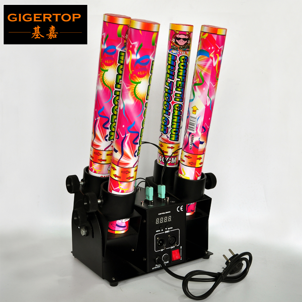 Freeshipping 4 Shoot Electrical Confetti Machine DMX512 Control 4 Channels Support Individual Shooting LCD Display Good Quality