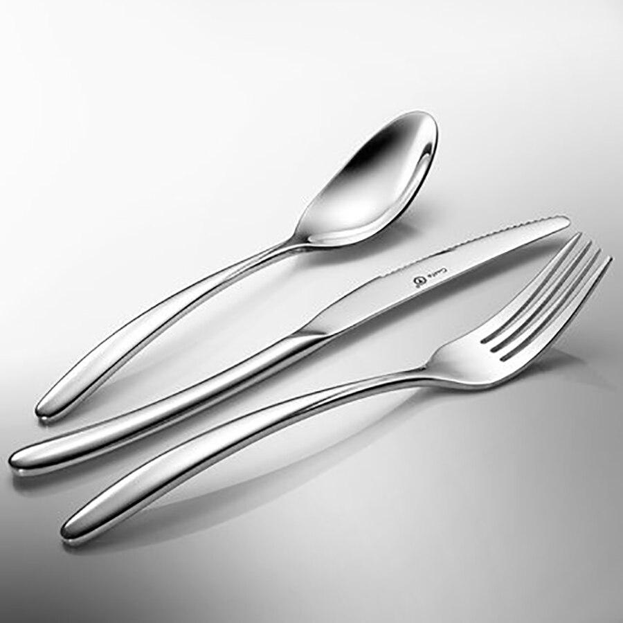 Stainless Steel Table Party Fork Spoon Knife Set Christmas Dinnerware Dinner Silverware Buffet Dishes Bestek Servies Set Hotel 6 in Dinnerware Sets from Home Garden