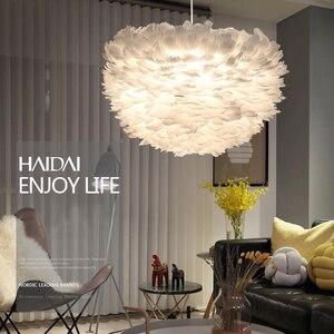 Image 4 - לופט מודרני לבן טבע אווז נוצת תליון אורות רומנטי E27 led תליון מנורות לבית מסעדת חדר שינה סלון