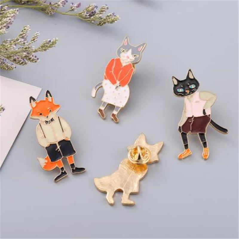 WKOUD 1pcs Animale pin set di Volpe dello smalto pin Distintivi e Simboli Cappello Zaino Cartone Animato animale dei monili di coppia Regalo per l'amante