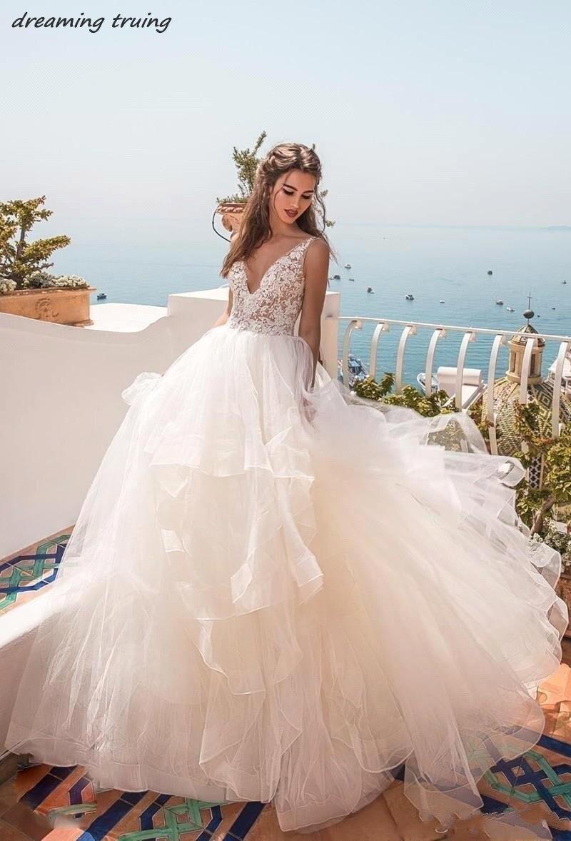 2019 boho simple tiered off shoulder bridal wedding dresses deep v neck backless hippie beach