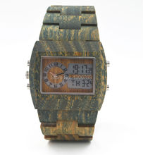 Hottest wood watch for men analog digital double movement led wood watch designer wood watch for