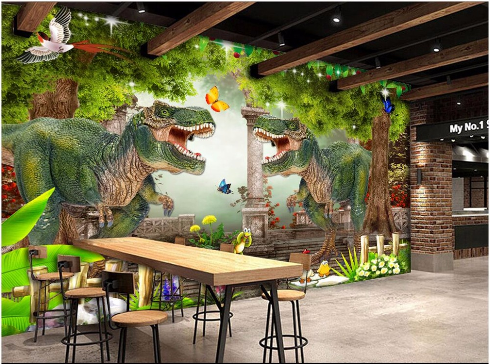 WDBH custom mural 3d photo wallpaper Dinosaur  Nature forest tree landscape home decor 3d wall murals wallpaper for living room waterfall forest mural wallpaper классическая гостиная home decor дверная наклейка пвх водонепроницаемая самоклеящаяся наклейка 70см x 200см