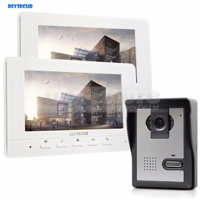 DIYSECUR 7inch Video Intercom Video Door Phone 1 Camera 2 Monitors For Home  / Office Security