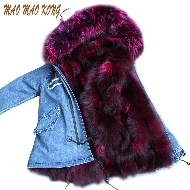 MAOMAOKONG Women Winter Coat Jacket Denim Fox Fur Lining Raccoon Fur Collar Female Casual Outwear Brand Style Parka giacca donna 2017 winter new clothes to overcome the coat of women in the long reed rabbit hair fur fur coat fox raccoon fur collar