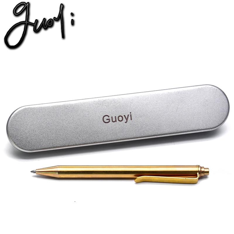 Guoyi Y088 นวนิยายทองแดงปากกาลูกลื่นการเรียนรู้สำนักงานสำหรับเครื่องเขียนของขวัญหรูหราปากกาโรงแรมการเขียนทางธุรกิจ G2 424 ปากกาเติม