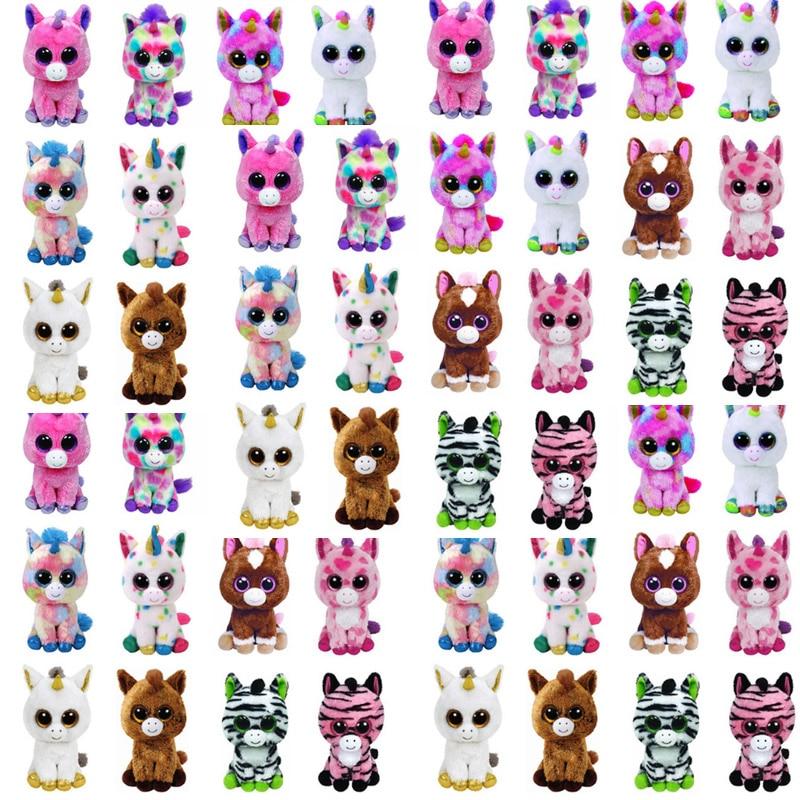 Ty Beanie Boos Unicorn Plush Toy Dakota Wishful Magic Fantasia Pixy Harmonie Harriet Zebra Horse Big Eyes Stuffed Animals 15cm H