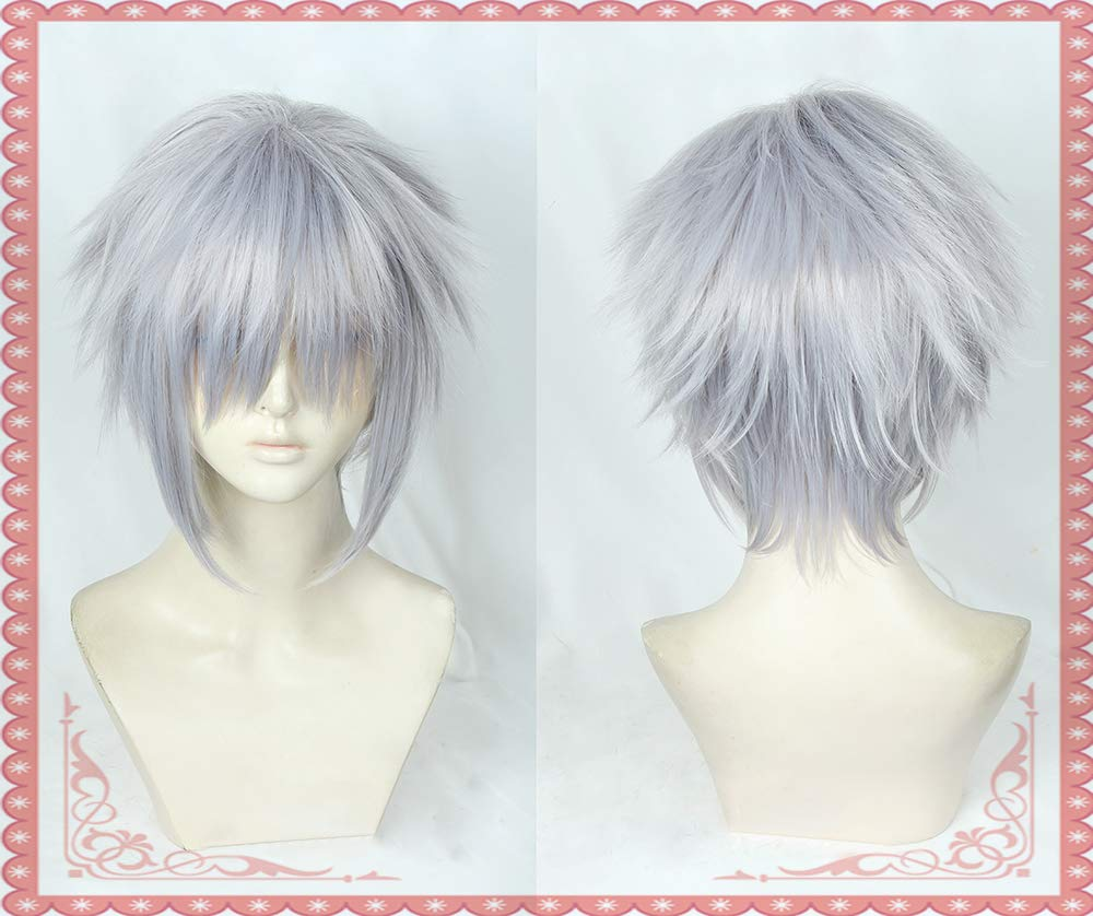 Image 3 - Game Kingdom Hearts III Riku Short Grey Mixed Color Wig Heat Resistant Synthetic Hair Cosplay Costume Wigs + Free Wig CapAnime Costumes   -