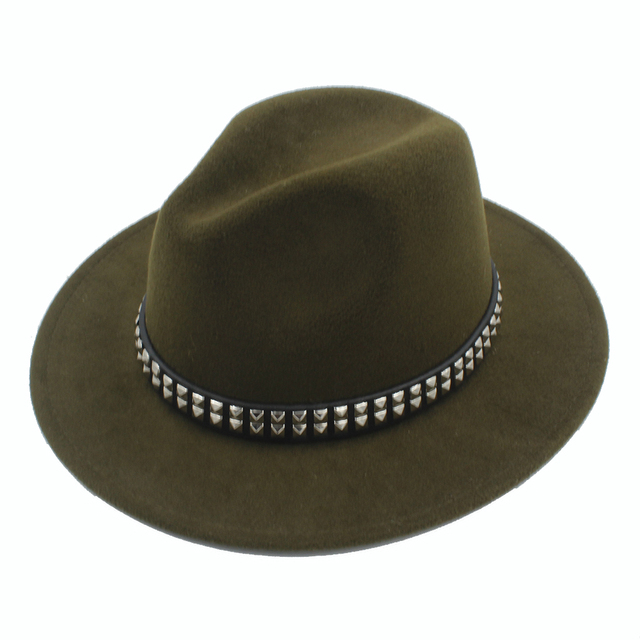 a64e9a5cc3b 2017 New Women Men Wool Fedora Hat With Wide Brim Black Jazz Fedoras Hats  With Punk Ribbon Size 56-58CM