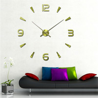 My House 3D Luxury DIY Large Wall Clock Mirror Surface Sticker Home Office Decor Mar1