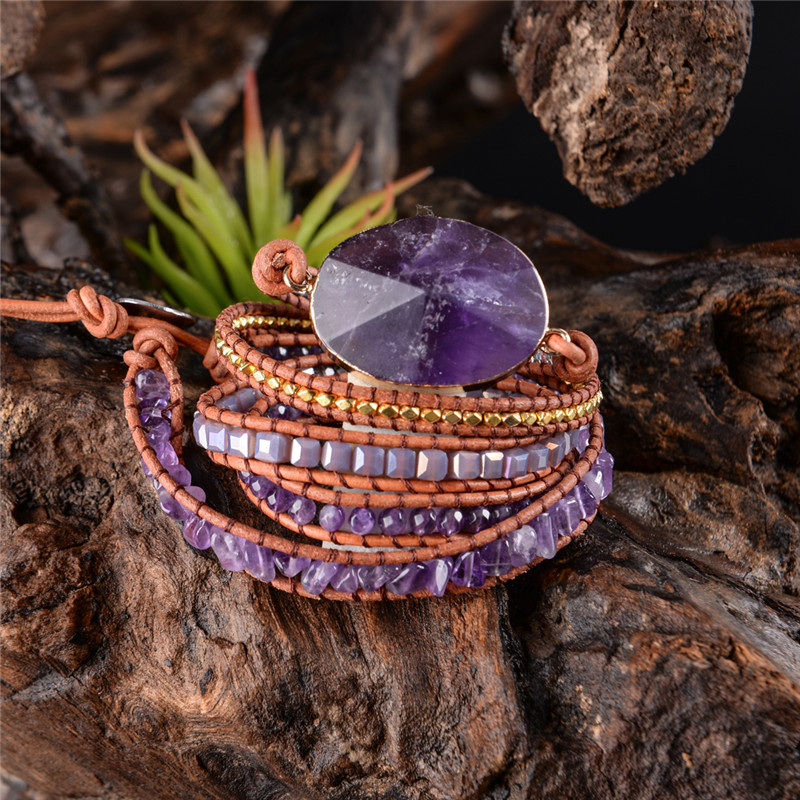 Exquisit Absolvierte Handgemachte 2018-5X Leder Wrap Perlen Armband Boho Chic Schmuck Armband valentinstag Geschenk Tropfen Verschiffen