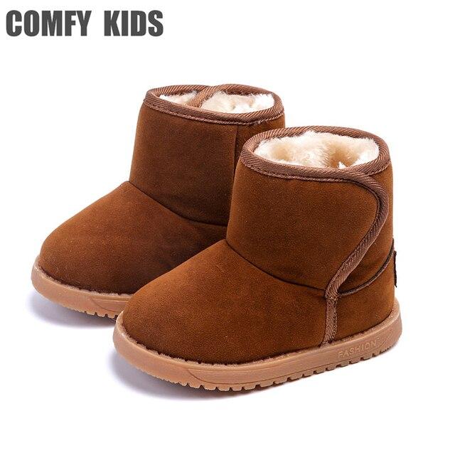 2725b198b Invierno cálido niños niñas nieve botas Zapatos moda plana con felpa Niño  niños nieve botas Zapatos
