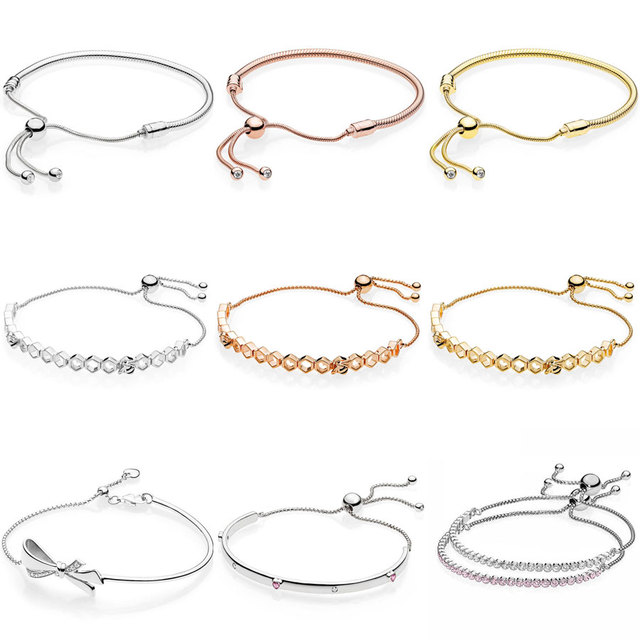 bbccd9884 Honeybee Brilliant Bow Explosion Of Love Sliding Clasp Adjust Bracelet Fit  Pandora Snake Bangle 925 Sterling Silver Bead Charm-in Bangles from Jewelry  ...