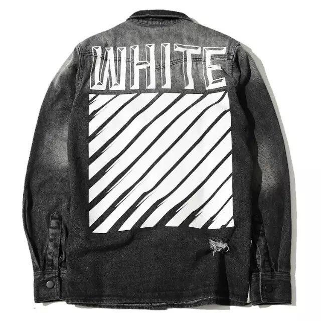 f2d6532be458 Best Quaity New Mens Cargo Autumn Hiphop OFF White Stripe 13 Print Jean  Jacket Fashion Men Personality Pocket Jacket