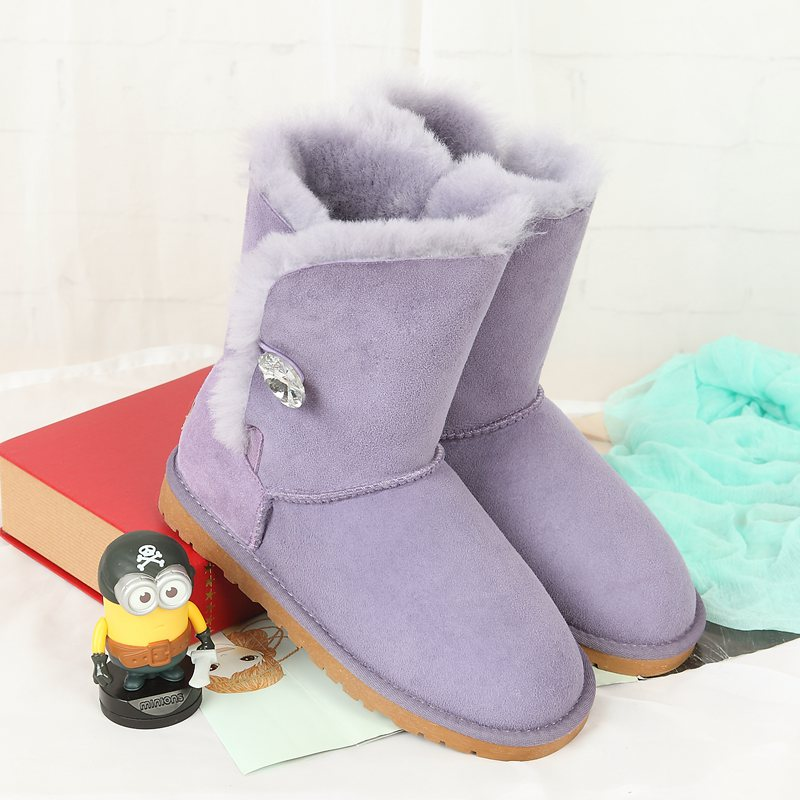 High quality snow boots 100% Australian natural sheep fur fashion snow boots warm shoes Leather Boots Free Shipping