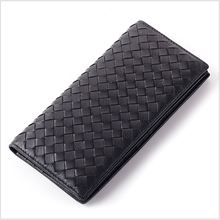 Sheepskin genuine leather high quality long wallet  Man cards holder purse  Black and Navy Blue