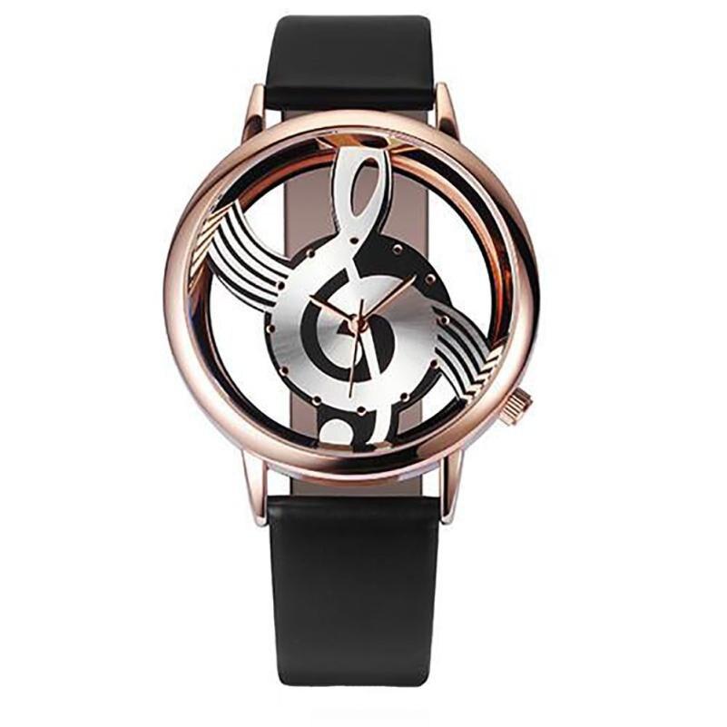 Montre Femme Fashion Hollow Women Watches Note Music Notation Leather Analog Quartz Wrist Watch Clock Ladies Dress Gift Watches