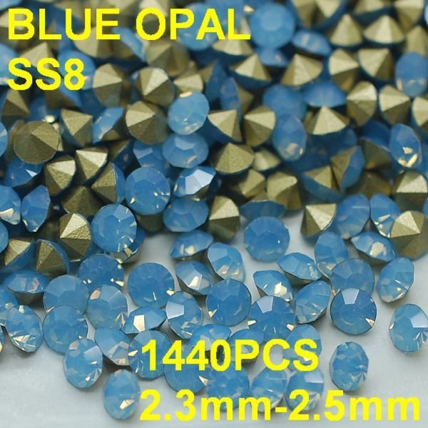SS8 1440pcs/lot 2.3mm-2.5mm Light Blue Opal Rhinestone For Nail Jewelry Golden Point Back 3D Rhinestones Decoration
