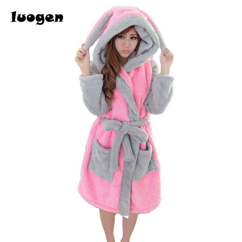 Winter Flannel Cartoon Robes for women Long Sexy robe Bathrobe Women Nightgown Hoodie Rabbit Stitch Cow Seep Animal Sleep Robe