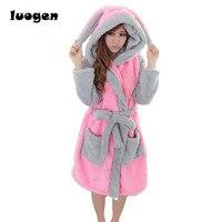 Winter Flannel Cartoon Robes for women Long Sexy robe Bathrobe Women Nightgown Hoodie Rabbit Stitch Cow Seep Animal Sleep Robe