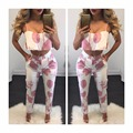 Vancol Summer 2 Piece Set Women 2016 twinset flower Print Halter Cotton Plus Size Sexy Beach Wear Women's Crop Top Pants Suit