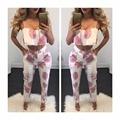 Vancol Summer 2 Piece Set Women 2016 twinset flower Print Halter Cotton Plus Size Sexy Beach Wear Women's Crop Top Pants Suit