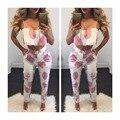 Vancol Verão 2 Peça Set 2016 Mulheres twinset Cópia da flor Halter algodão Plus Size Sexy Beach Wear Calças Principais Culturas das Mulheres Terno