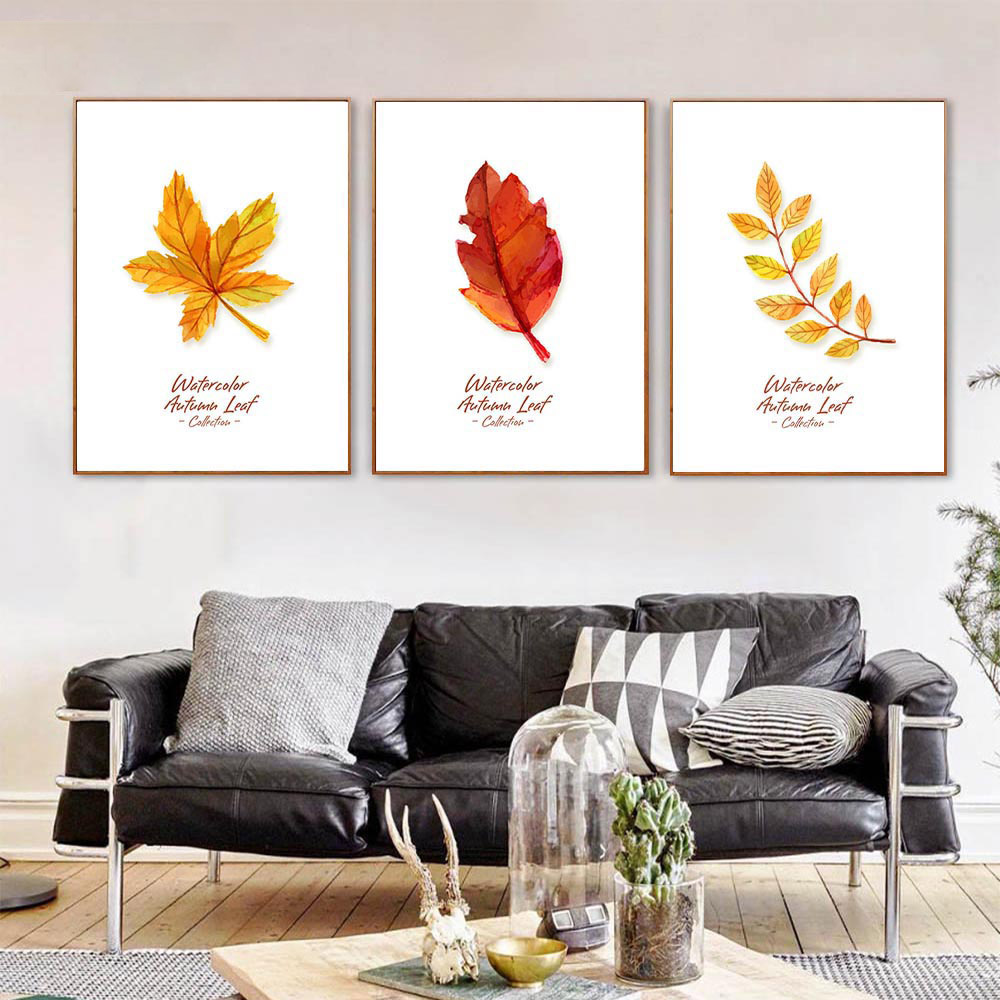 Autumn Yellow Red Leaves Canvas Poster Watercolor Plant Nordic Art Minimalist Canvas Painting Wall Picture Print Home Room Decor