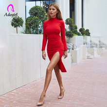 Adogirl Red Women Bodycon Autumn Dress Slim Home Night Club Party Sexy Side Split Long Sleeve Vestidos 2019