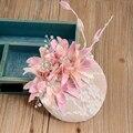 Lírio romântico Floral Rendas Chapéus De Noiva Com Pérolas de Cristal Delicado Chapéu Tamanho 15 cm * 15 cm De Casamento Cor de Rosa 2016 Acessórios do casamento