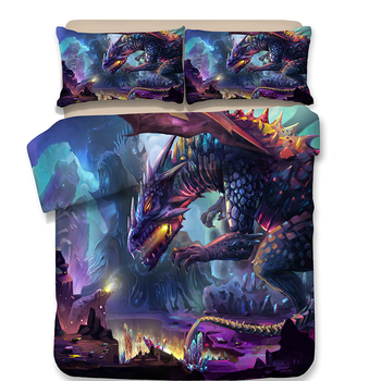 3D Cartoon dinosaur bedding Sets Single Printing Duvet Cover Sets Pillowcase AU/US/EU Single/Double/Queen/King Size Bedding Set