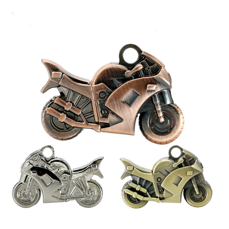 Pen Drives Metal Cool Motorfietsen USB Flash Drive 32 GB 16 GB 8 GB 4 GB sleutelhanger U Disk pendrive bronzen moto cool gift