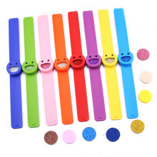 8 Colors 1pcs Smile Face Silicone Slap Bracelets Essential Oils Diffuser Wristband anti-mosquito for Kids(China)