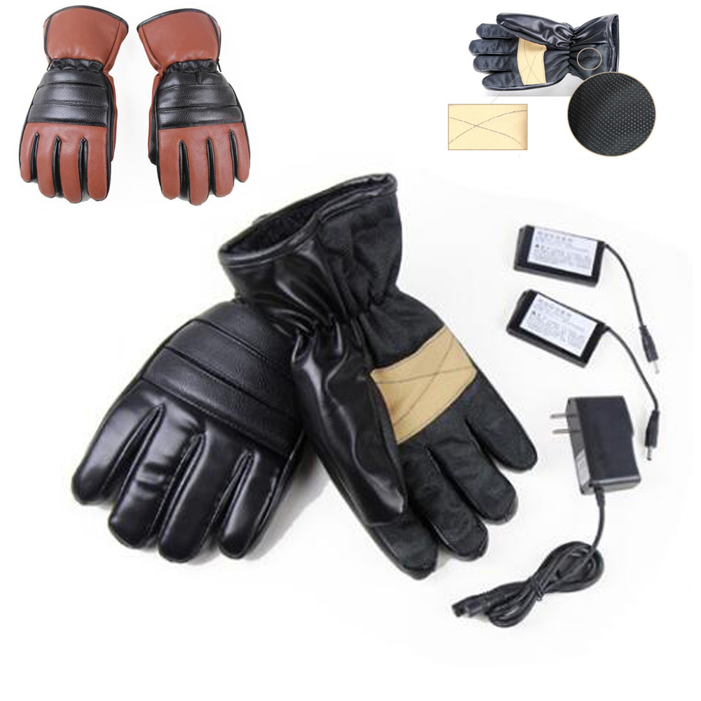 1 Pair Leather Winter Ski Outdoor Work Warmer Motorcycle Bicycle Electric Heated Hands Gloves W/ 3000mAh Rechargeable Battery 1 pair 4000mah rechargeable battery with smart switch on off electric heated warm glove winter outdoor work ski warmer gloves