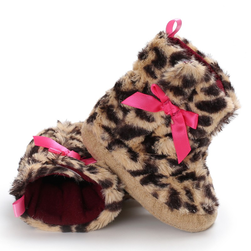 2018 Baby Shoes Leopard Pattern Baby With Butterfly Knot Princess Step Shoes Baby Girl Shoes Walking Shoes 0-18M