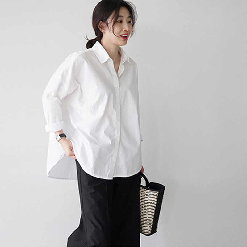 BGTEEVER Spring Single Breasted Women Blouses Tops Full Sleeve Turn-down Collar White Blouse Shirt Female Casual Loose Shirts