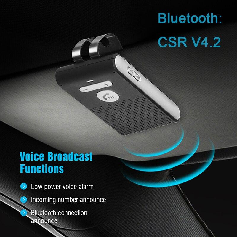 Siparnuo CSR V4.2 Bluetooth Handsfree Car Kit Wireless Bluetooth Sun Visor Clip Speakerphone with Siri Voice Control SP08
