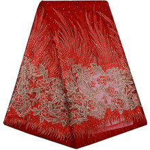 Free Shipping Red Color High Quality Guipure Lace Fabric 2018 African Voile Swiss Lace Fabric With Stones For Wedding Dress 854