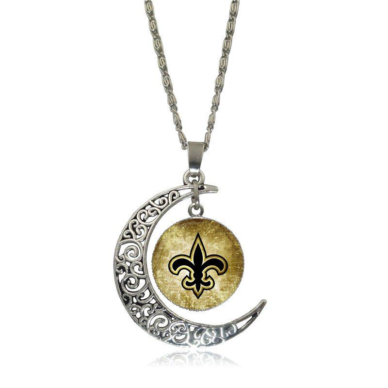 EJ Glaze Symbol of New Orleans Glass Cabochon Choker Moon Pendant Necklace Silver Color Jewelry For Women Girls Handmade image