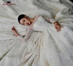 Image 4 - Custom Made Rijk Lange Mouwen Grote Trein Lace Kralen Crystal Luxe Trouwjurken 2020 Real Foto Bruids Bruidsjurk YB127