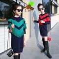 2017 Весна девушки мода кисточкой свитер платья дети одежда для новорожденных девочка хлопок повседневная осень ребенок длинный тонкий свитер платье