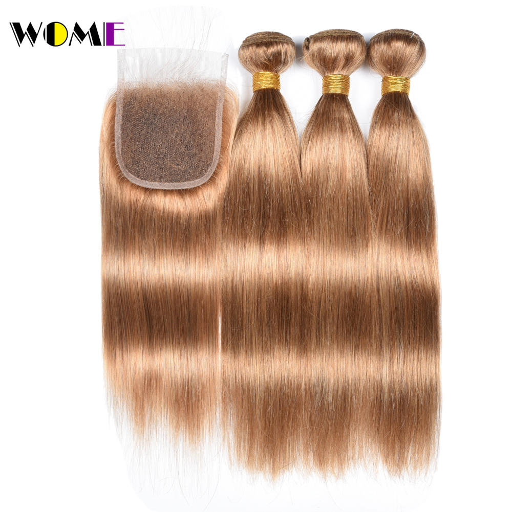 3/4 Bundles With Closure Hair Extensions & Wigs Wome #27 Peruvian Straight Hair With Closure Honey Blonde Color Human Hair Weave 3 Bundles With 4x4 Lace Closure Non Remy Hair