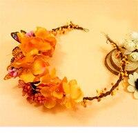 Moda Çiçek Florals Başlığı Düğün Gelin Saç Aksesuarları turuncu Yapay Çiçek Taç Kafa