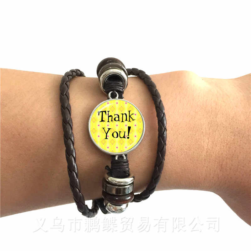 2018 Baru Terima Kasih Guru Cincin 16 Mm Kaca Cabochon Merci Maitresse Kubah Kaca Perhiasan Cincin untuk Terima Kasih Hadiah