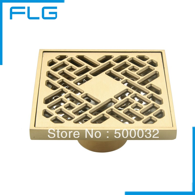 Luxury Brass Art Carved Flower Decorative Cover Bathroom Floor Waste Grate Shower Drain Drainer 100