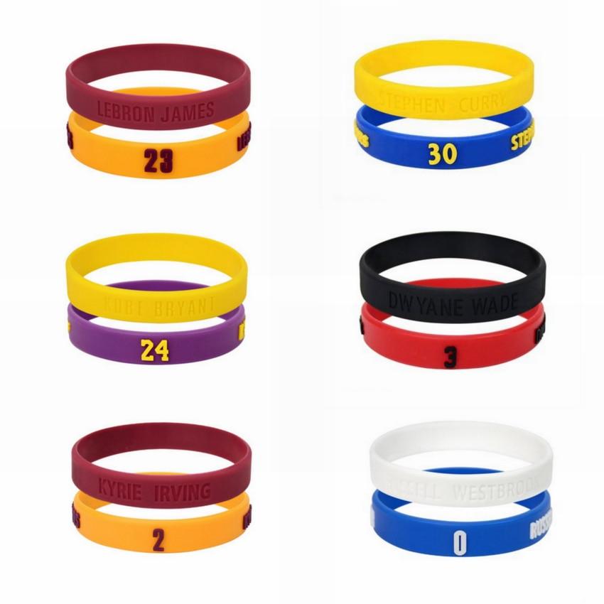 2pcs Popular Silicone <font><b>Wristband</b></font> Basketball Star Bracelet Rubber Hand Ring Band Bracelet Sports Wrist Strap