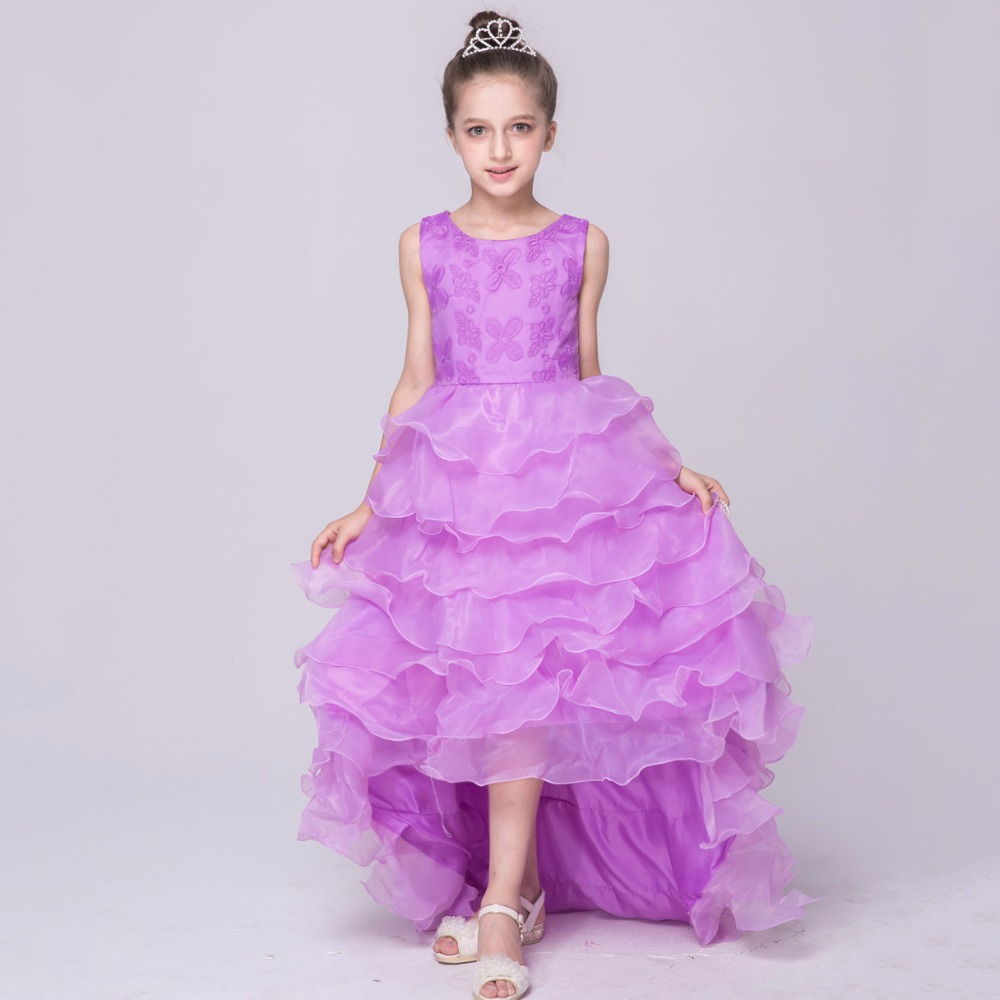 Princess Children Clothing Wedding Party Dresses Tull Kids Elegant Flower Girls Short Front Long Back Prom Dresses with A Tail